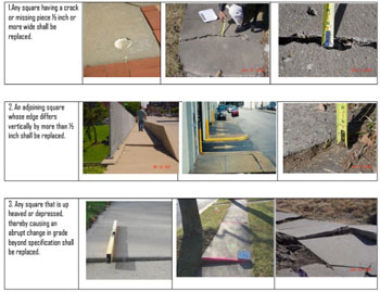 Examples from the city's Out of Repair compliance guide.