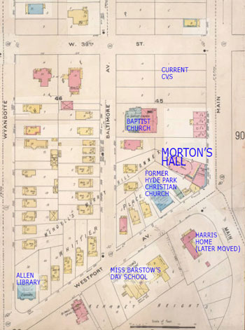 This 1895-1909 Sanborn Fire Insurance map shows vacant land at the corner of 39th and Main that later became rows of shops and later yet became CVS. It also shows the former home of the Hyde Park Christian Church, one of the oldest Christian churches in Missouri, as well as the former Baptist Church (now Redeemer Fellowship) on Baltimore.