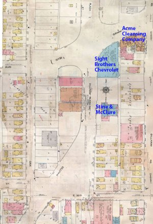 A 1909-1950 map of today's featured block shows a mix of commercial businesses and modest homes, and the block today remains a mix of commercial and residential properties.