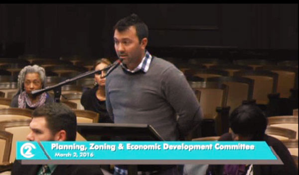 Drew Gilmore, co-president of the Valentine Neighborhood, testified on the Norman School proposal.