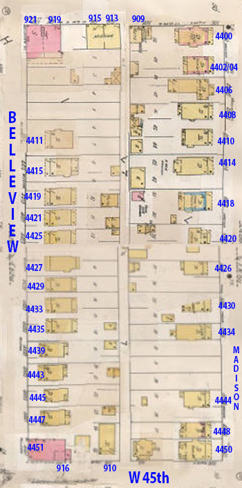 A 1909-1950 Sunburn map of the block, showing the numerous cottages that lined both Madison and Belleview Avenues.