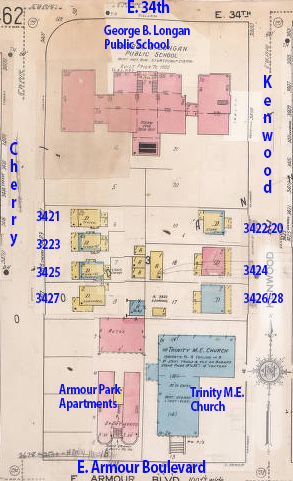 A 1909-1950 Sanborn map of the block.