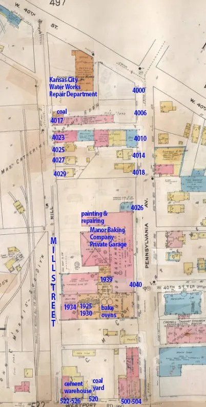 A later map of the block, from 1907-1950, shows the expansion of the Manor Baking Company and the Kansas City Water Department, and the removal of the St. James Chapel and several of the homes along Mill Street.