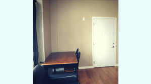 Large living room in downtown campus apartment
