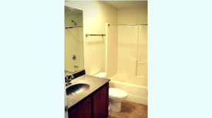 Bathroom in a two bedroom campus apartment