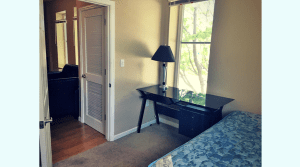 Furnished bedroom in a two bed apartment
