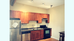 Open kitchen in a two bedroom campus apartment
