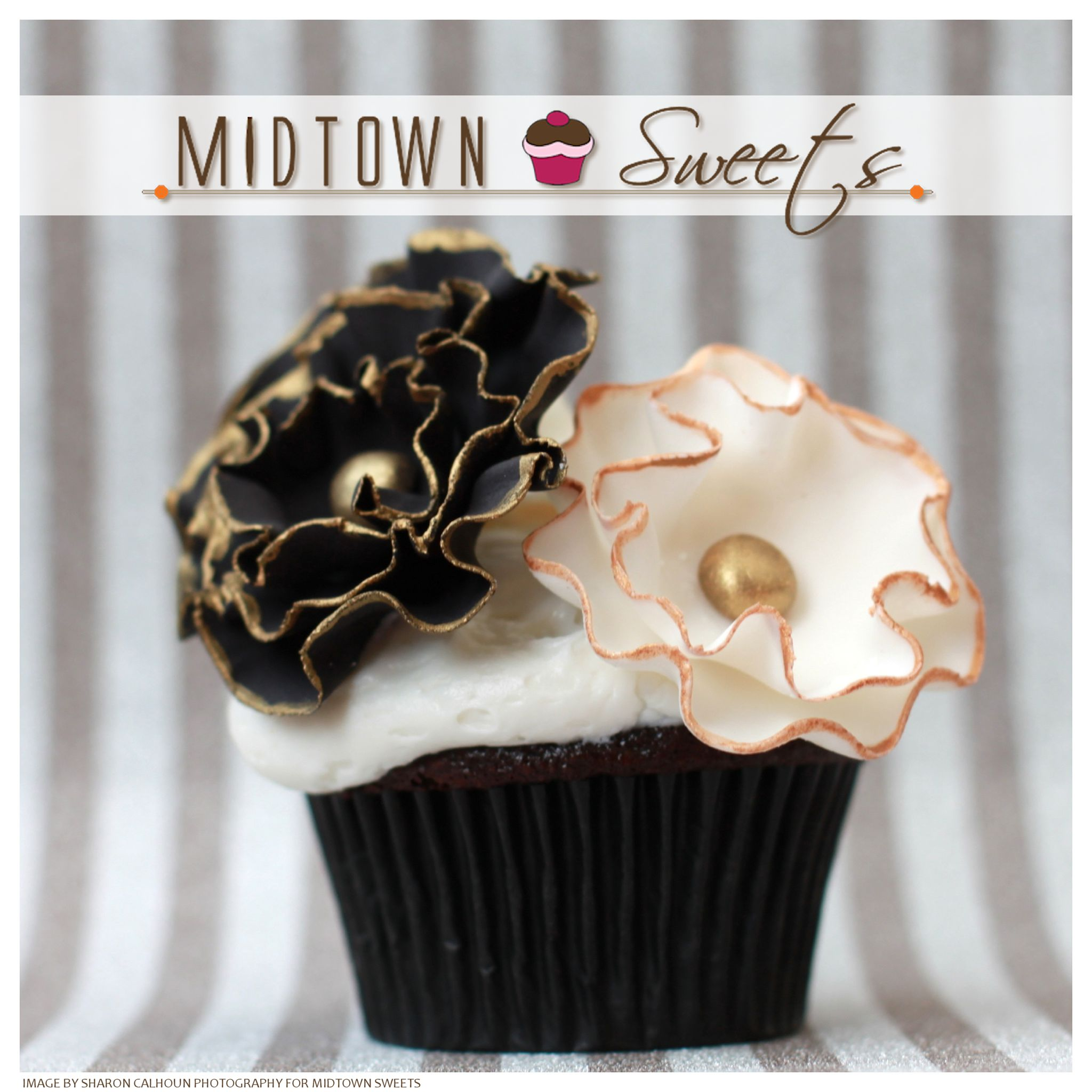 Midtown Sweets  Black  White Flower Cupcakes with Gold Trim