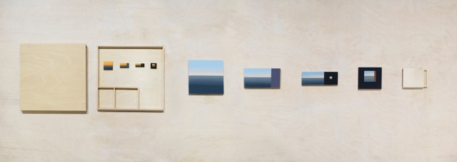 Diti Almog, Small Sunset and Tiny Sunset, 2010. Travel box with 4 small paintings and smaller box with 4 tiny paintings – all acrylic on aircraft plywood. Courtesy the artist.