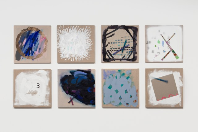 Laura Owens, Untitled, 2010. Oil, acrylic, collage, charcoal, yarn, and clock motors on canvas and linen. Private Collection, Los Angeles.