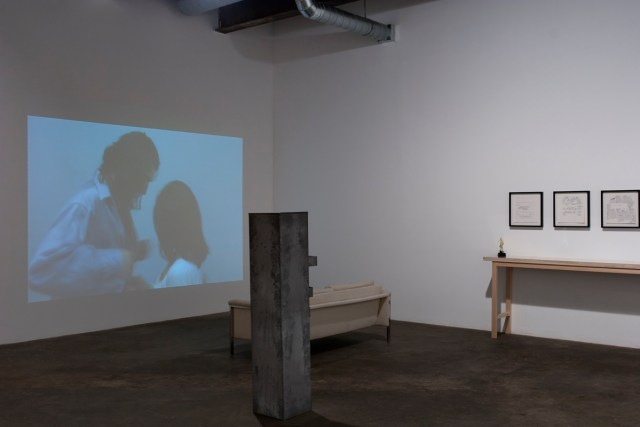 The Way It Wasn't (Celebrating ten years of castillo/corrales, Paris), installation view. Left to right: Owen Land, Lutz Bacher, Amy Sillman.