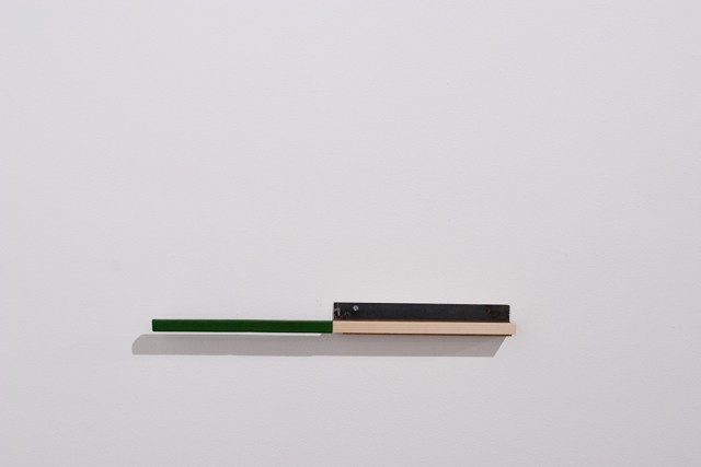 Oscar Tuazon, Untitled (Green), 2004. Wood, goatskin, metal, screws.