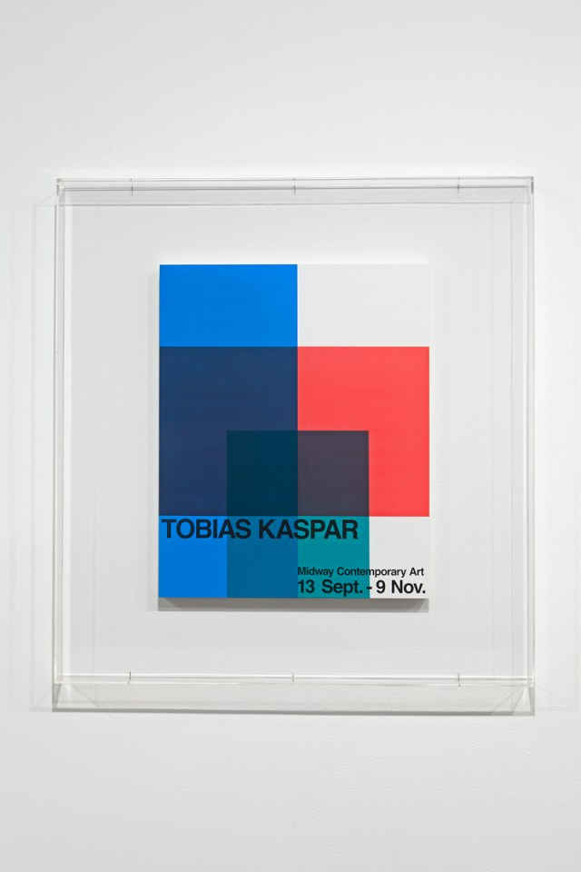 Stripped Bare (Exhibition Announcement), 2013. Silkscreen, lacquered wood, acrylic case. 43 ⅜ x 41 ⅜ x 2 ⅝ inches.