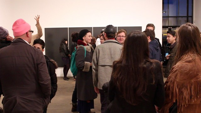 Still from video documentation of Alexander Hempel's performance at Midway Contemporary Art, March 14th, 2014.