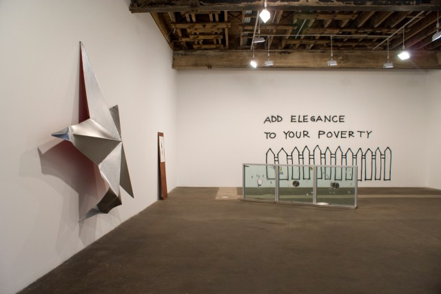 he Secret Life of Ojects, Gallery 1 installation view. Left to right: Mark Handforth, Silver Star, 2004; Cameron Jamie, Lonesome Boogie Rattler, 2006; Nate Lowman, Not Sorry, 2006; Monica Bonvicini, Add Elegance to Your Poverty, 2002.