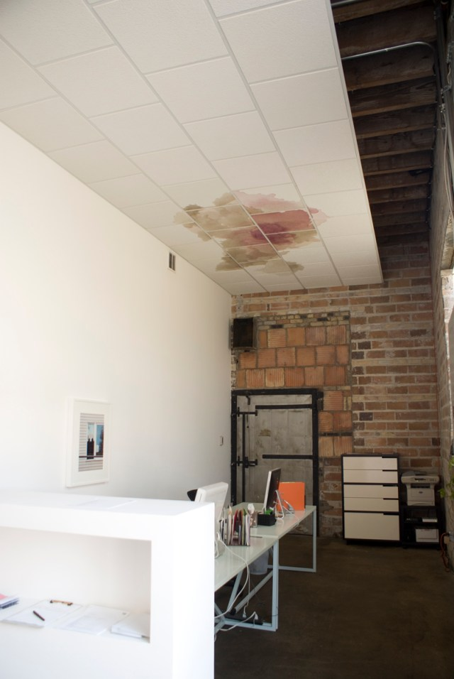 The Secret Life of Ojects, installation view. On wall: Rachel Harrison, Perth Amboy (2 hands man), 2001; On ceiling: Jay Heikes, The Hill Upstairs, 2005.