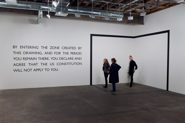Declared Void, 2005. Vinyl drawing and text. Text: 55 inches x 151 ½ inches as installed; letters: 6 ¼ inches high; vinyl band: 4 ¾ inches wide.
