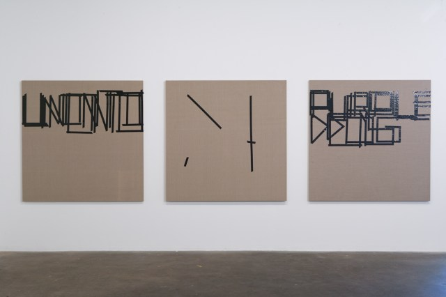 Untitled (Canvases #8, #9, #10), each 2007. Isolation tape on Belgian linen. 60i inches x 60 inches each.