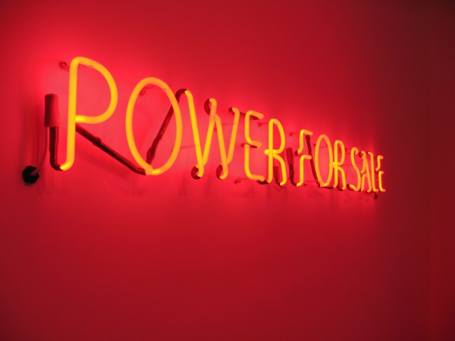 Untitled (Power for Sale, Ninety-Nine Percent Water, Panropa), detail, 2008. Neon tubing and dichroic glass filter. Edition: 1+1 AP.