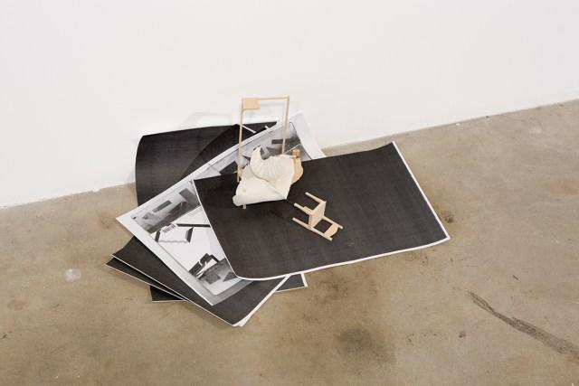 Untitled, detail, 2007. Photocopy, DAS clay, balsa wood, shelf bracket.