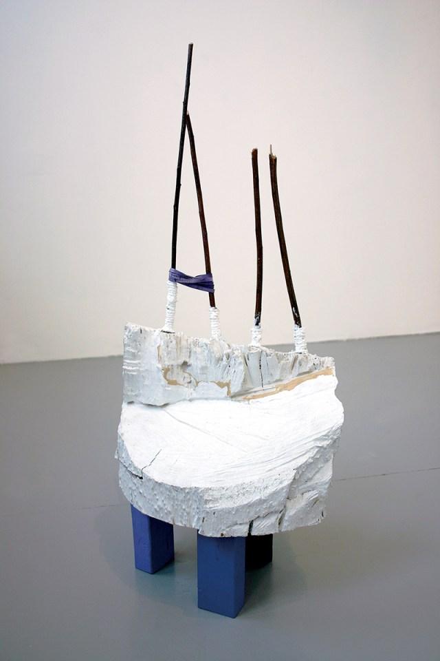 Samara Caughey, Purple, 2003. Wood, plaster, paint, rubber bands, twigs.