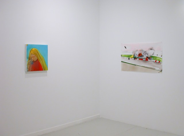 Loaded, installation view. Left: Dana Schutz, Untitled, 2001. Oil on Canvas. Courtesy of Brooke and Eric Parker. Right: Kristin Baker, Pain in the Ass Chicane, 2002. Acrylic on mylar.