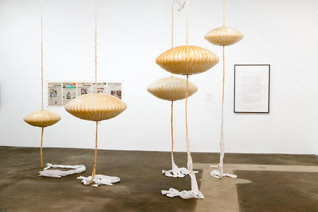 Mai-Thu Perret, Positiveland (Isolation Bungalow Furniture), 2006. Latex, lamps, fabric. Dimensions variable. Courtesy of the artist and Greene Naftali, New York.