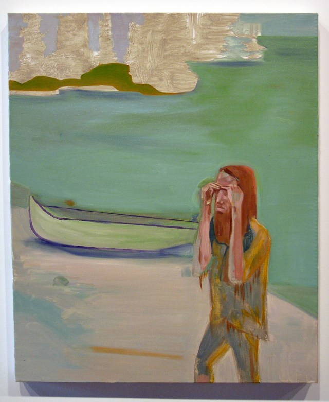 Just Because I Dropped Out Of Society Doesn't Mean I Don't Care About It., 2005. Oil on canvas. 36 x 20 inches.