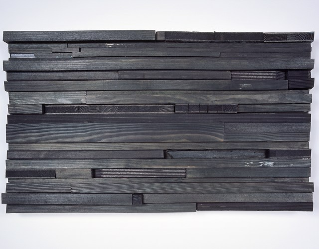 moll 4, 2005. Stain, acrylic paint, wood. 13 ¾ x 23 ¾ x 3 inches.