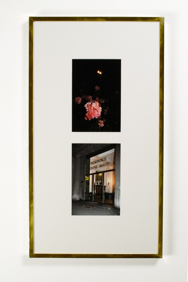 Sven Augustijnen, Les Demoiselles de Bruxelles, 2008. Frame 2: Roses in the King's Garden, below the roundabout, 370-372 Avenue Louise (top); Residence of Louise-Marie, 379 Avenue Louise (bottom). 33 ½ x 18 ¼ inches. Courtesy Musée d'Ixelles, Brussels.