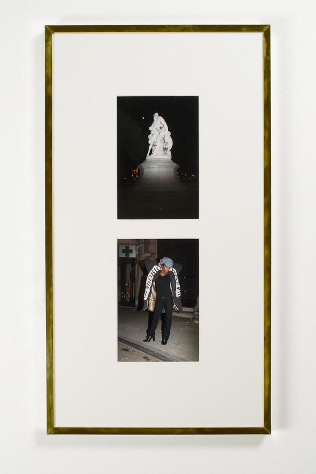 """Sven Augustijnen, Les Demoiselles de Bruxelles, 2008. Frame 7: """"Slave recaptured by dogs"""" by Louis Samain, 1898, 506-508 Avenue Louise (top); Valerie, 511 Avenue Louise (bottom). 33 ½ x 18 ¼ inches. Courtesy Musée d'Ixelles, Brussels."""
