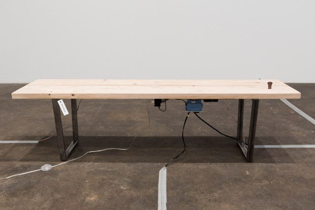My Mother's Collection (Ranging $50 to $500), 2016. Wood, steel, touch sensor, arduino, audio repeater, metal object, and tag. 70 ¾ x 16 x 21 inches.