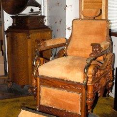 "Hercules Folding Chair Antique Wood Barber C.1900 E. Berninghaus ""the Time Machine"" ""hercules"", Suede, Brass, Restored ..."