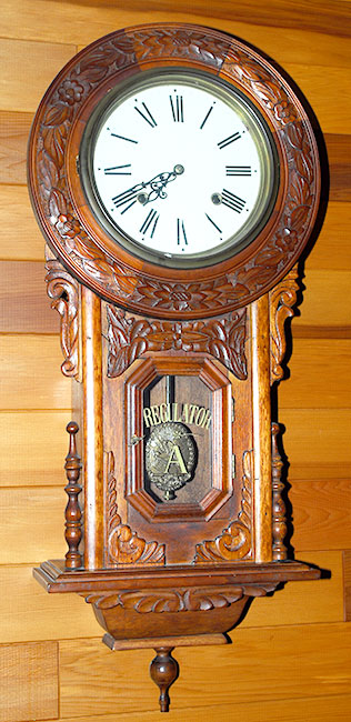 American Oak carved wall clock  MidwestAntiques in LA