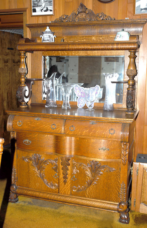 American Oak sideboard with claw feet French beveled