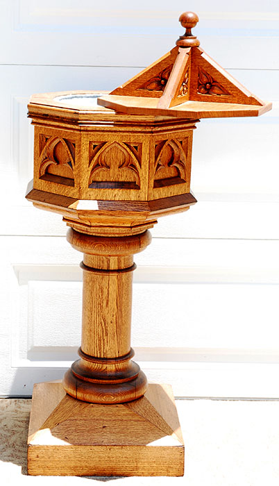 SOLD Antique American oak solid wood real Baptism Bath