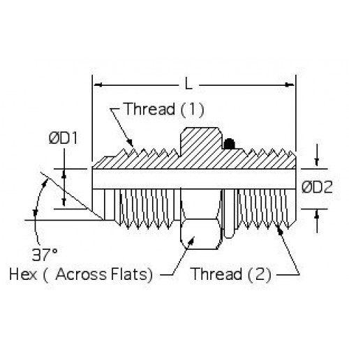 Hydraulic Adapters Union, Male, JIC-ORB 5/16-24