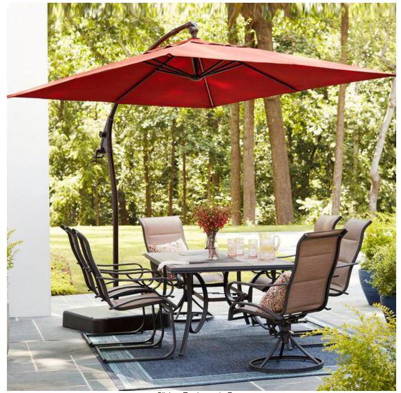 hampton bay 8 ft square aluminum cantilever offset outdoor patio umbrella includes base