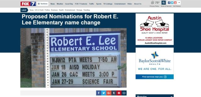 Proposed Nominations for Robert E. Lee Elementary name change - KTBC.clipular