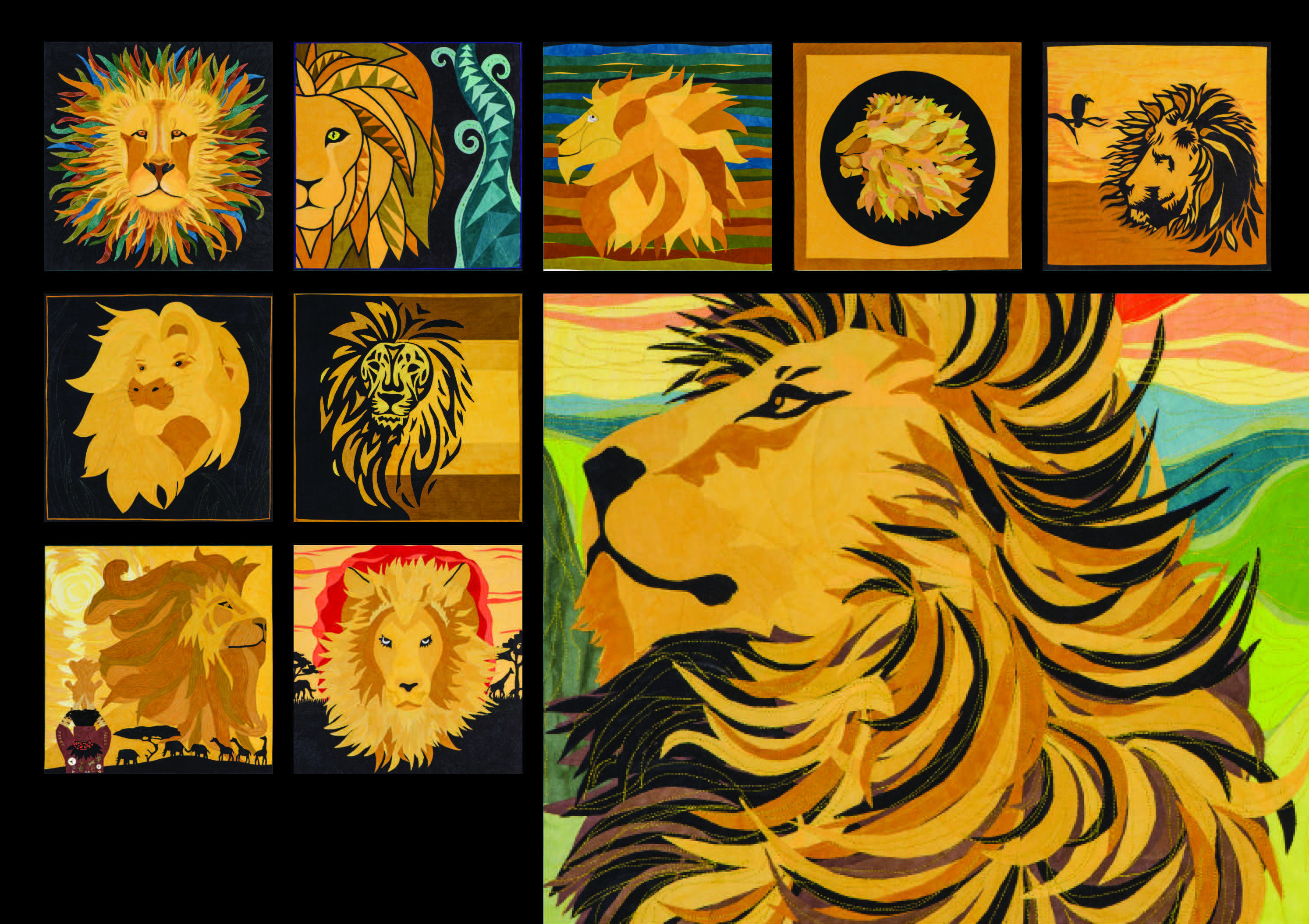 Lion King: The Cherrywood Quilt Challenge | Midwest Fiber Arts Trails : lion quilt pattern - Adamdwight.com