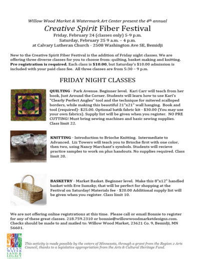 2017 Creative Spirit Friday night classes