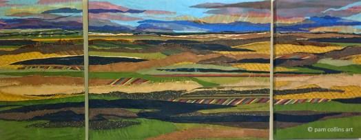 Triptych Fabric Landscape © Pam Collins Art