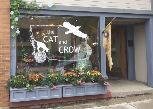 The Cat and Crow front window.