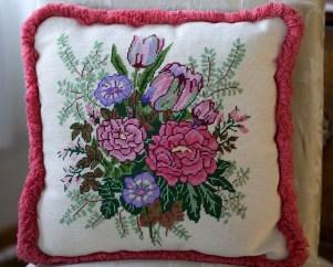 Needlepoint pillow, Jennifer Wilder, Wayzata, MN (photo credit Suzanne Shaff)