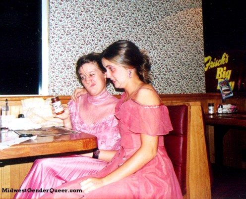 Spring 2002: Night diner adventures with my oldest friend, Jess. I am wearing a 1970s dress and Jess is in a thrifted costume from the Cincinnati ballet. We balanced the camera on a booth across from us.