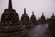 Each of these bells contains a buddha statue