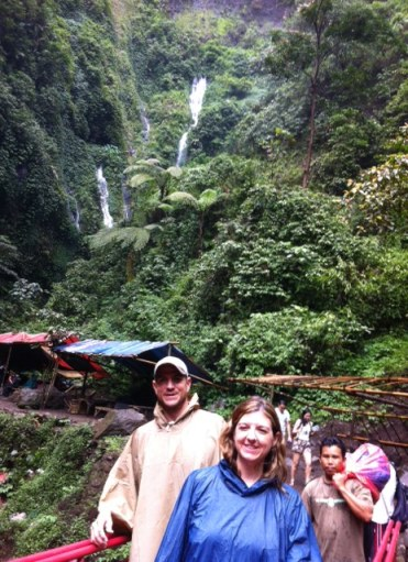 At the waterfall - a stop on the way to Mt. Bromo