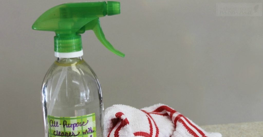 Homemade Cleaners like this All Purpose Cleaning Spray are ideal for limiting chemicals in your home. Make this using essential oils and natural ingredients!