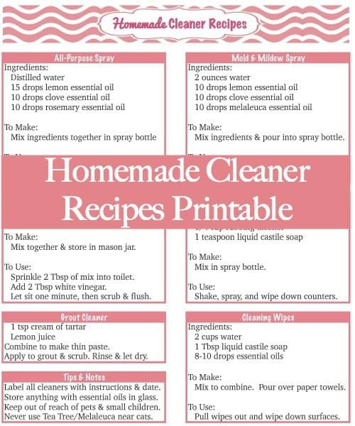 Homemade Cleaners - Printable Recipes for my favorite homemade cleaners