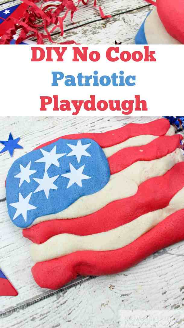 Patriotic Homemade Playdough is a great fun No Cook Play Dough Recipe that you and your kids will love as a fun summer kids craft!